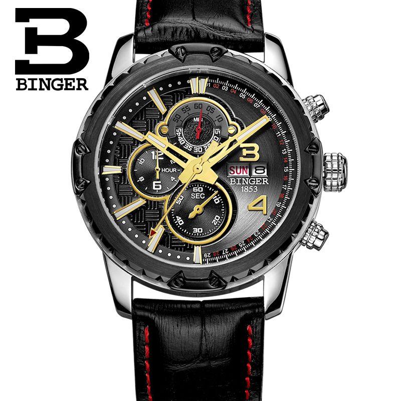 все цены на Genuine Switzerland BINGER brand Men sapphire military leather strap steel watch waterproof calendar conquer luminous stopwatch