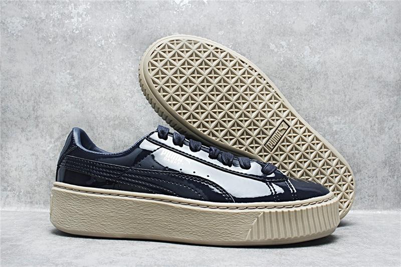 2018 Новое поступление Puma Basket Platform лакированной Wn's женские кроссовки бадминтон обувь Размер 35,5-39