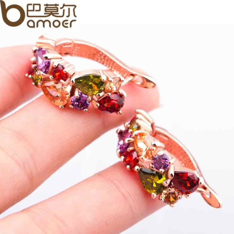 BAMOER Gold Farbe Einzigartige Gestüt Ohrringe mit Multicolor AAA Zirkon Stein Nickel, Cadmium frei Schmuck JIE020