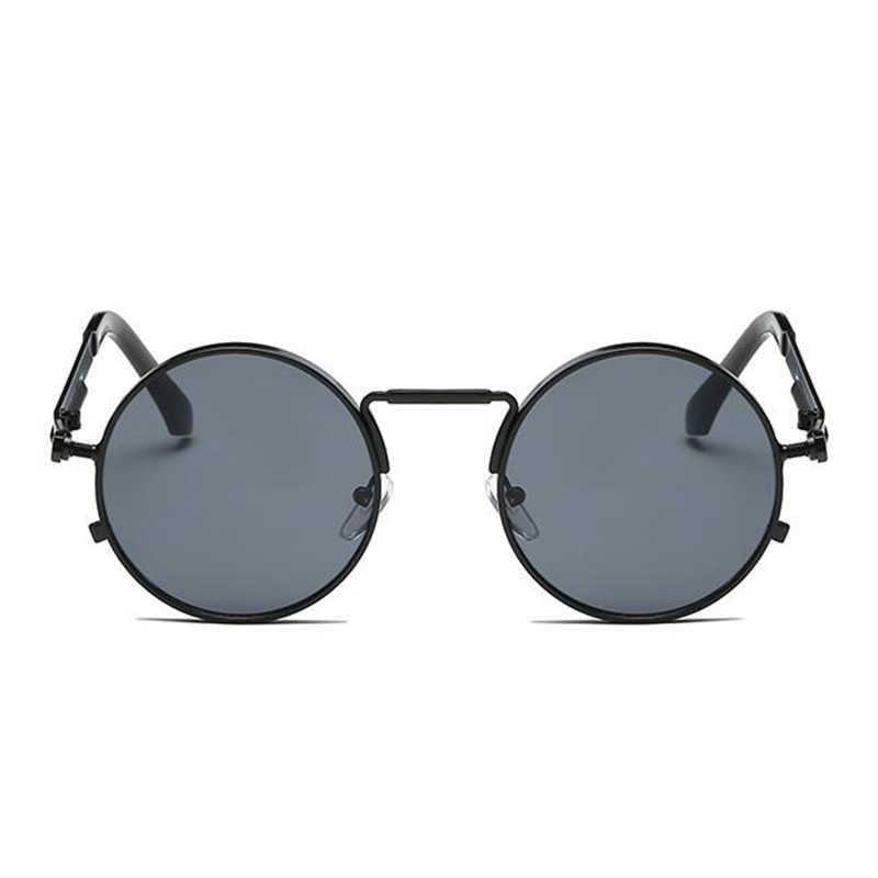 Bulat Steampunk Kaca Mata Pria Wanita Mewah Merek Kacamata Cermin Punk Matahari Kacamata Vintage Pria Wanita Kacamata Punk