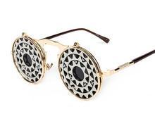 J60 unisex flip hola diseño steampunk gafas de sol redondas de metal de calidad Superior marca gafas de sol oculos anteojos Estrenar + soft bag
