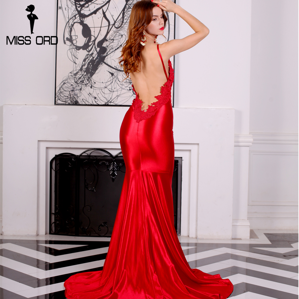 Missord 2018 Sexy V-neck sleeveless backless red color maxi party dress FT8217