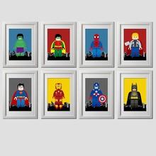 Детская Super hero настенные художественные плакаты и принты, мультфильм Super hero холст картины настенные картины дети мальчики спальня украшения