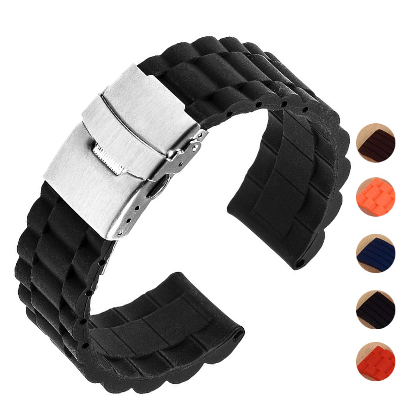 5 Colors 18mm 20mm 22mm 24mm Universal Watch Band Silicone Rubber Link Bracelet Wrist Strap Light Soft For Men Women Wristwatch