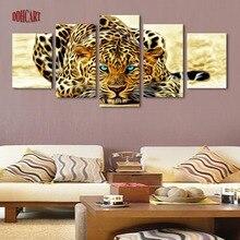 5 Unidades Leopardos Abstracto Decoración Del Hogar Moderno Arte de La Pared de Lona Animal Pintura Fotografía Impresión Set de 5 Cada Lienzo Artes Poster