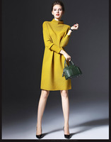 2019 Autumn and Winter Ladies New Simple Wild Long-sleeved Loose Bottoming Dress Was Thin Solid Color Knit Large Size Dress