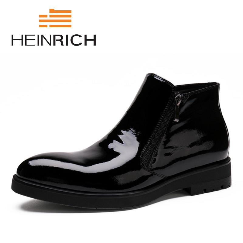 HEINRICH Autumn And Winter Martin Men Short Boots Genuine Leather Men's Boots Chelsea British Retro Male Shoes Stivali Invernali europe martin boots male trend of korean in autumn and winter in men shoes chelsea leather boots british retro men casual boots