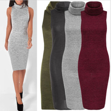 Autumn Winter Sexy Women Clothing Knitted BodyCon Slim Party Dresses Turtleneck Sweater Dress Elegant office Pencil Dress