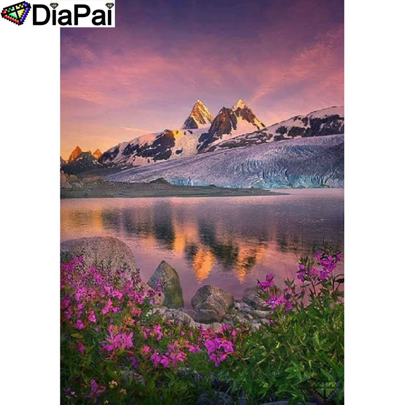 DIAPAI 5D DIY Diamond Painting 100 Full Square Round Drill quot Flower lake sunset quot Diamond Embroidery Cross Stitch 3D Decor A22056 in Diamond Painting Cross Stitch from Home amp Garden