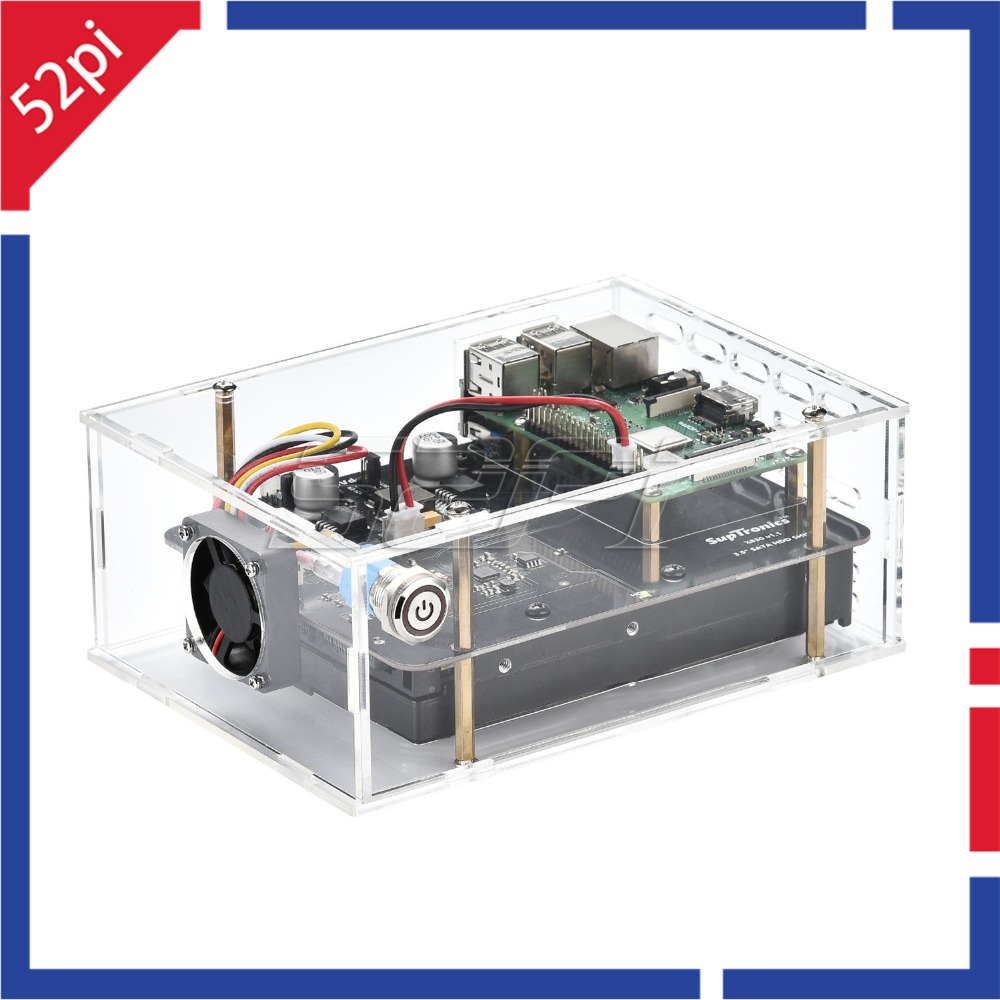 X830 V2.0 3.5 inch SATA HDD Hard Disk Drive Storage Expansion Board With Optional Acrylic Case for Raspberry Pi 3B+ (Plus)/3B