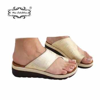 New exhibition Women's Shoes PU Leather Flat Sole Ladies Casual Soft Big Toe Foot Correction Sandal Orthopedic Bunion Corrector - DISCOUNT ITEM  5% OFF All Category