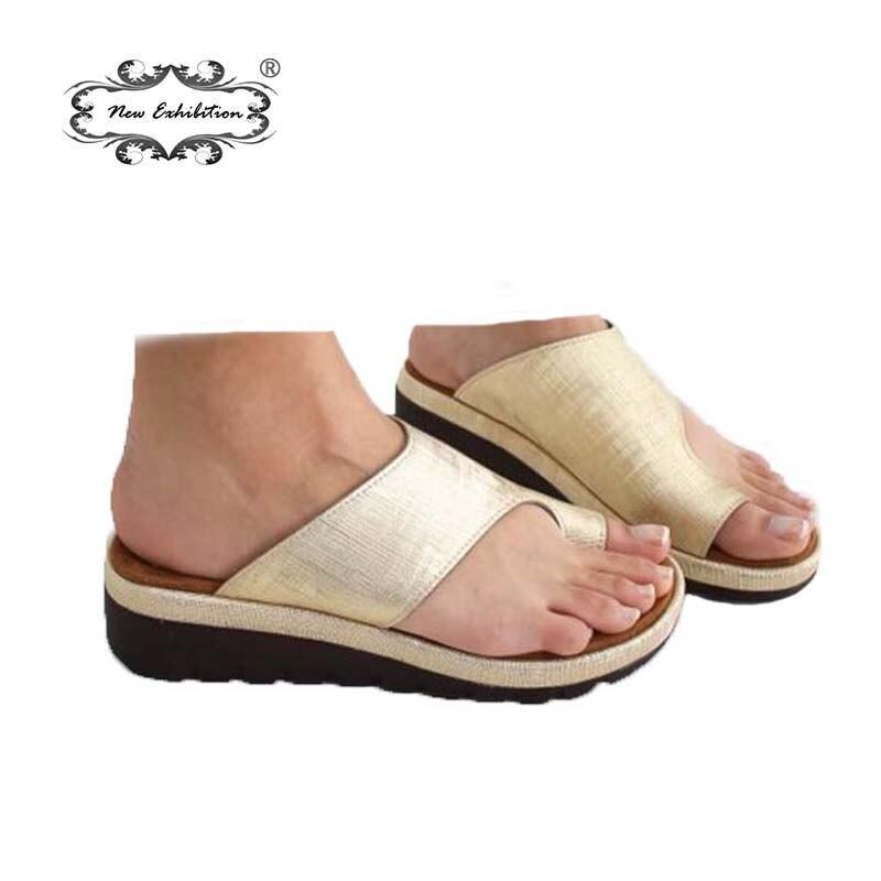 Nueva exposición zapatos de mujer zapatos planos de cuero de la PU suela Casual suave pie corrección sandalias ortopédicas juanete Corrector