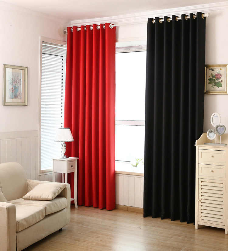 Red Curtain Pure Black Shading Cloth Double Shade French Window Curtains Cortinas For Living Room Cortina Bedroom Blackout Thick