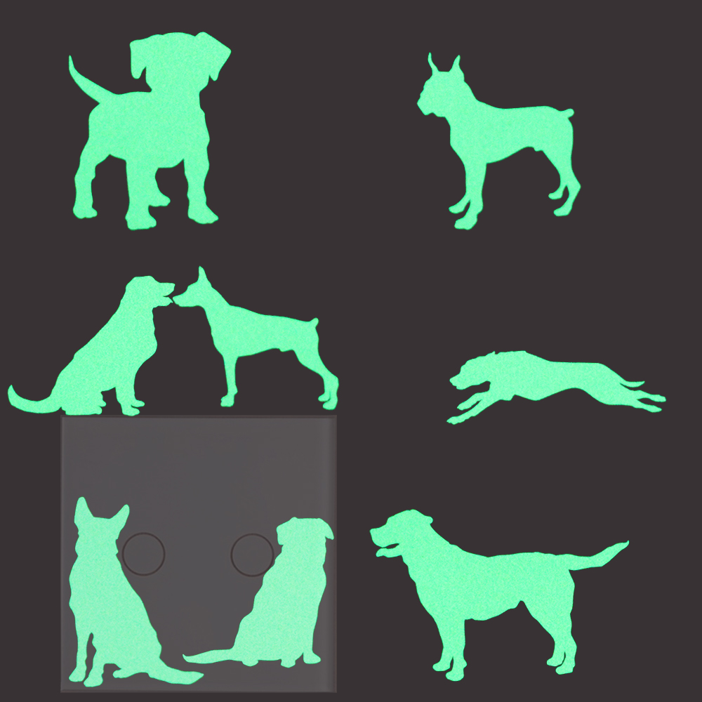 8pcs Dogs Luminous Switch Sticker Decals Home Decor Glow in the Dark Wall Sticker Wallpaper for Kids Rooms Bedroom Decoration