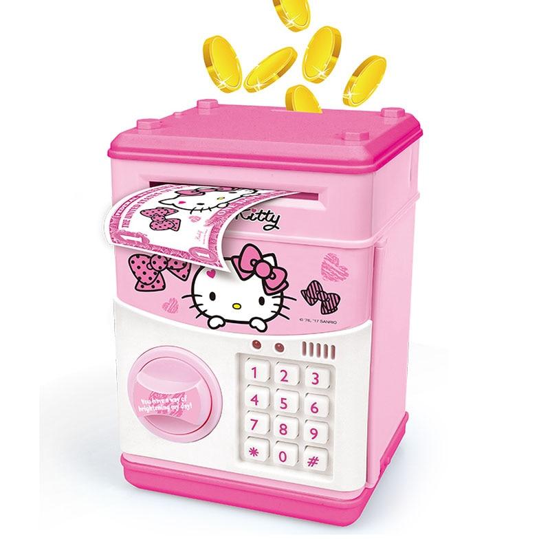100FUN Hello Kitty Electronic Piggy Bank Mini ATM Deposit Box Furniture For Dolls Toys For Children deposit mobilization