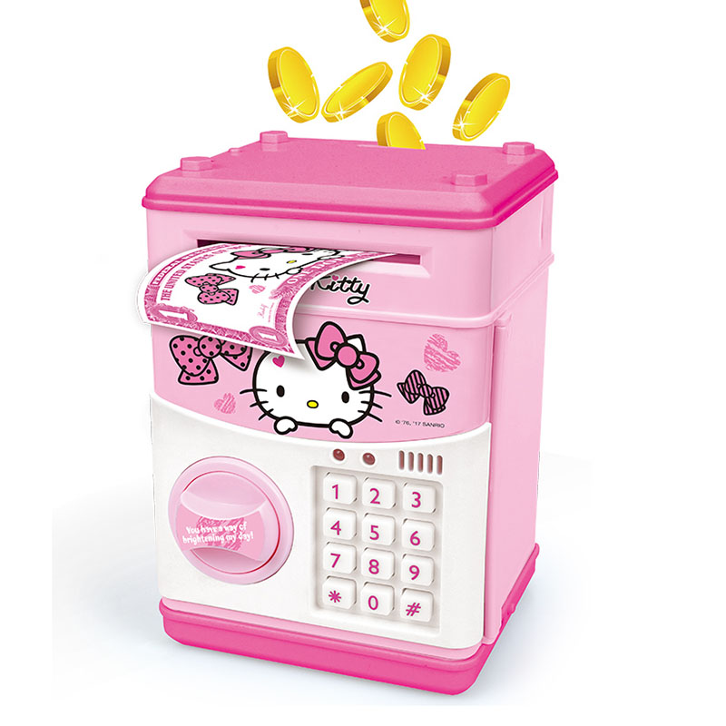 100FUN Hello Kitty Electronic Piggy Bank Mini ATM Deposit Box Password Money Box For Kids Children Toys
