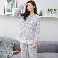 Women Autumn Winter Pajamas Soft Comfortable Printing Home Suit Women Cotton Pyjama Sleepwear Plus Size Pajamas
