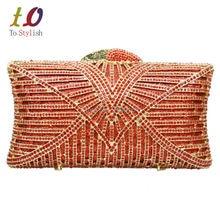 Stilvolle Roten Streifen Luxus Metall Abend Kristall Handtasche Frauen Party Gold Diamant Abendtasche Abendessen-beutel 88188