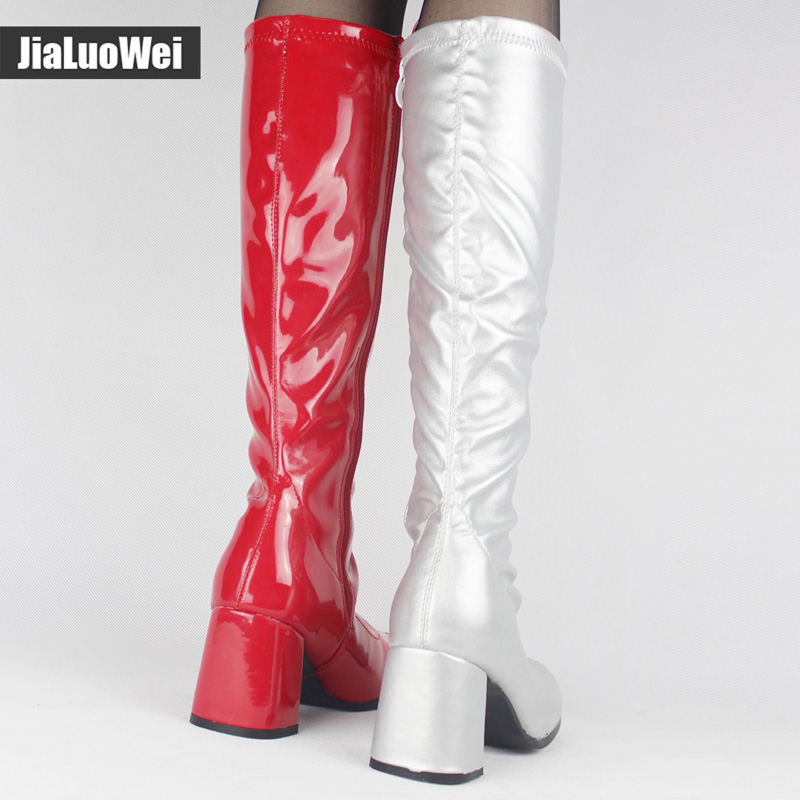 Red And White Go Go Womens Boots