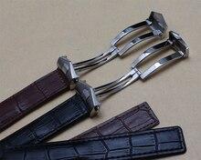 20 мм 22 мм новый черный натуральная кожа ремешок часы группы ремешок браслет с черный поток нержавеющей стали развертывания