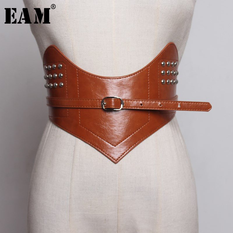 [EAM] 2019 New Spring Summer Pu Leather Simple Buckle Decoration Personality Women Clothes Belt Fashion Tide All-match JY331