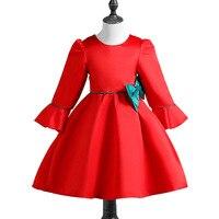 2018 niñas arco Floral vestido niña vestido rojo manga larga A-line vestidos chica cumpleaños fiesta vestido de invierno