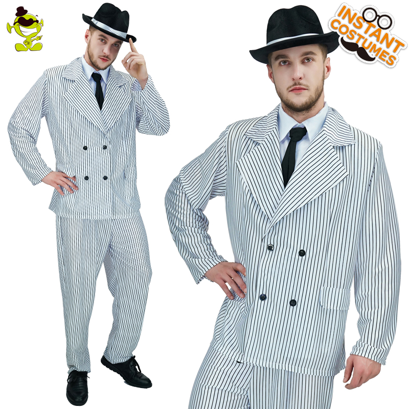 Luxus Männer Gangster Kostüm Halloween Karneval Party Slim Fit - Kostüme