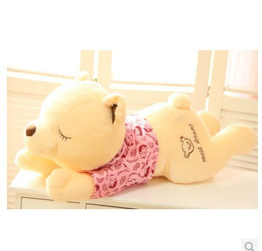Stuffed animal Teddy bear with pink cloth lying teddy bear sleeping bear about 23 inch plush toy 60 cm throw pillow doll w6791 2pcs pair lovely couple teddy bear with cloth dress plush toy stuffed baby doll girls