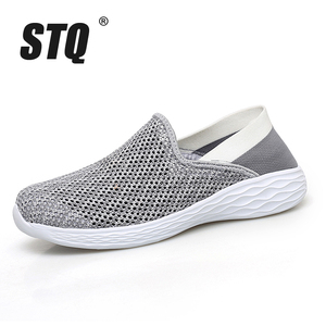 Image 2 - STQ 2020 Autumn Women Sneakers Shoes Breathable Mesh Tenis Feminino Slip On Ladies Casual Flats Sneakers Shoes Woman 1869