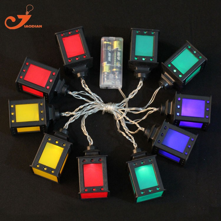 black lantern multicolor LED lights clear wire  (10)