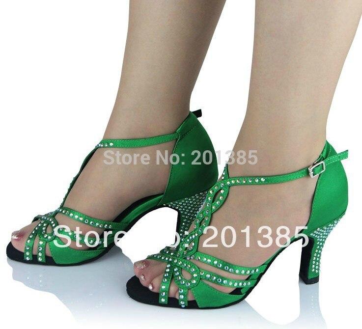 Νέες Κυρίες Πράσινο Σατέν Crystal Rhinestone Ballroom Λατινική Samba Σάλσα Ceroc Tango Dance Παπούτσια Όλα τα Μέγεθος