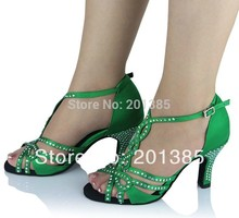 New Ladies Green Satin Crystal Rhinestone Ballroom Latin Samba Salsa Ceroc Tango Dance Shoes All Size