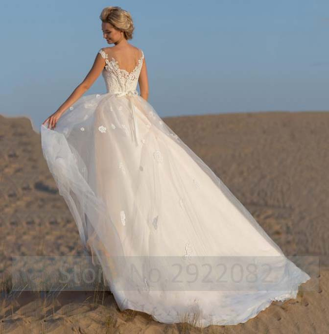 Romantic Lace Top Wedding Dress Illusion Scoop Cap Sleeve Bridal Gowns A Line Wedding Dresses Formal Gowns Robe De Soiree in Wedding Dresses from Weddings Events