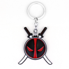 Marvel Superhero Deadpool Mask Keychain Fashion Unique Jewellery for Men Black And Red Deadpool Keychain With Two Swords
