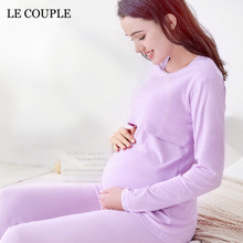 Le Couple Combed Cotton Maternity Nursing Tops font b Pregnancy b font Breastfeeding font b Pyjama