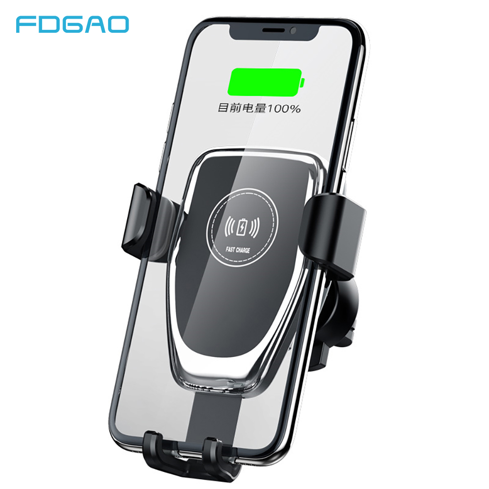 FDGAO 10W Qi Wireless Car Charger Mount Phone Holder For iPhone 11 Pro XS Max XR X 8 Gravity Fast Charging for Samsung S10 S9 S8 image