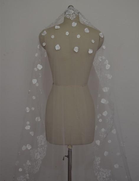 Длиной 300 см! Новая мода Апликация из Белой Слоновой кости Край Фата для невесты Свадебные аксессуары для вуалей OV0007