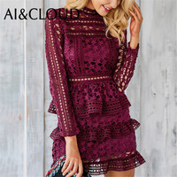 AI&CLOUD Legant Hollow Out Ruffle Lace Dress Women Vintage Long Sleeve Slim Short Dress Winter Party Sexy Dress Vestidos
