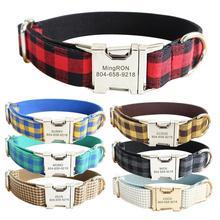 Personalized Pet Collar Custom Plaid Nylon Puppy Cat Name ID Tag Adjustable Collars Lead Leash Set Free Engraving Dog Collars