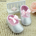 Niosung Glitter Baby Shoes Flash Gold Bow Soft Bottom Sneaker Anti-slip Soft Sole Toddler Baby Care