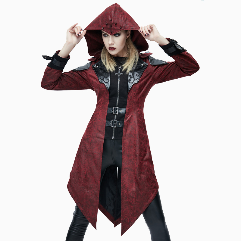 Devil Fashion Autumn Winter Punk Style Faux   Leather   Women Dovetail Long Jackets Gothic Hooded Coats Punk Handsome Outerwear