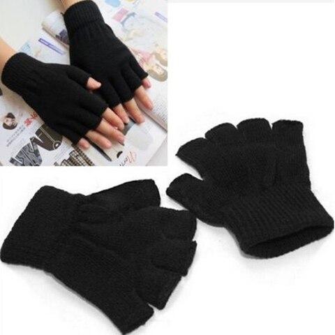New Arrival!!! Winter Black Short Half Finger Fingerless Wool Knit Wrist Glove Warm Workout  For Women And Men 2018 Multan