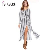 Isiksus Striped Maxi Dress Shirt Women Vintage Female Long Sleeve Summer Casual Dresses Black Beach Dress for Women DR092
