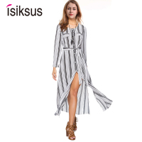 Isiksus Striped Maxi Dress Shirt Women Vintage Female Long Sleeve Summer Casual Dresses Black Beach Dress for Women DR092