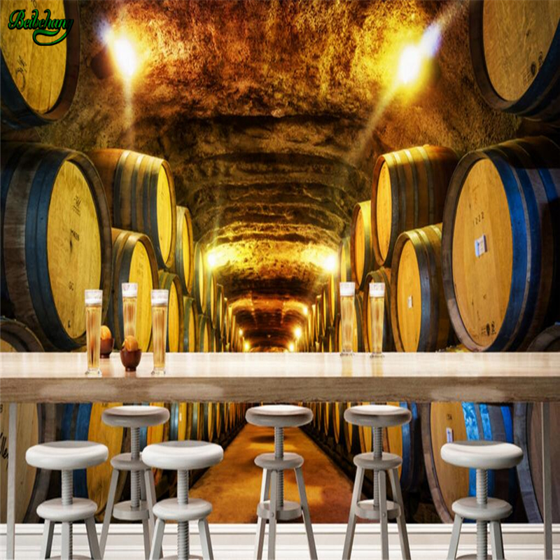 beibehang Large Custom Wallpaper European Retro Nostalgic Wine Cellar Bar Decorative Backdrop Wall free shipping european wine cellar wallpaper ktv bar restaurant industry lounge hall decoration beer cup wallpaper mural