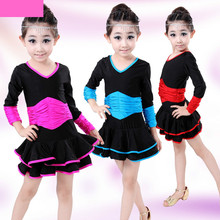 Girls Long Sleeves Latin Dance Dress Childrens Fancy Dress Kids Plus Size Ballroom Dance Wear Salsa Tango Rumba Cha Cha Costume