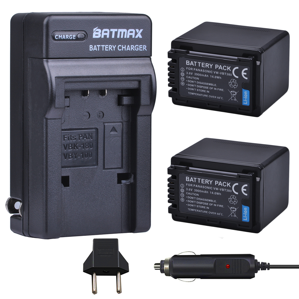 Batmax 3900mAh VW-VBT380 VBT380 Battery+Wall Charger For Panasonic HC-V110, HC-V130, HC-V160, HC-V180, HC-V201, HC-V250,HC-V260