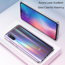 Luxury Gradient Glass Cover Case for Xiaomi Mi9 Slim Transparent Aurora Laser Coque 9 Phone Capa