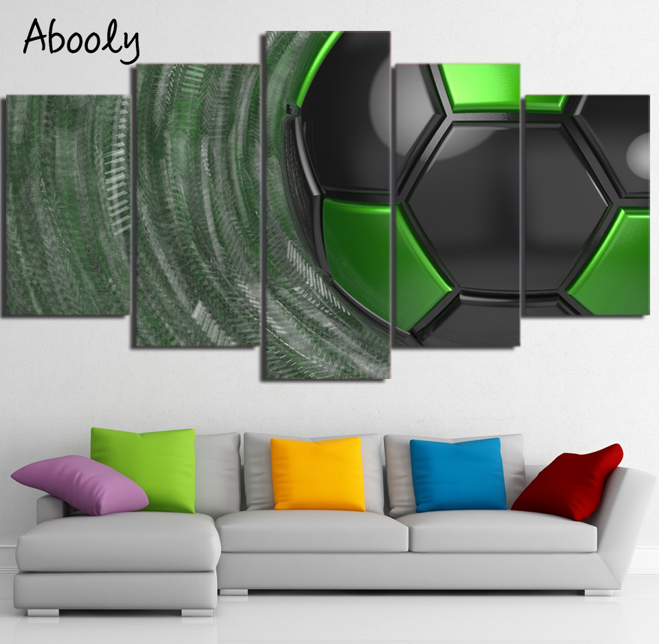 HD Print 5 Piece Canvas Art Green Soccer Wall Art Home Decor Wall Pictures Modular Modern Art Print for Living Room