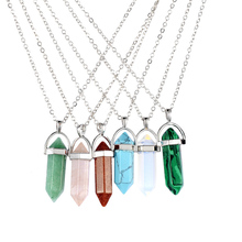 Hexagonal Column Silver Chain Necklace Women Natural Turquoise Agate Amethyst Stone Crystal Pendant Necklace Female Jewelry Gift yumten grey agate necklace female natural stone power crystal coin rainbow choker charm chain reiki women vintage jewelry men